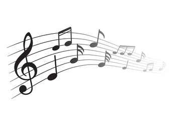 Music notes, black group musical notes – vector