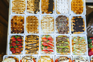 Waffles in a showcase of Brussels, Belgium