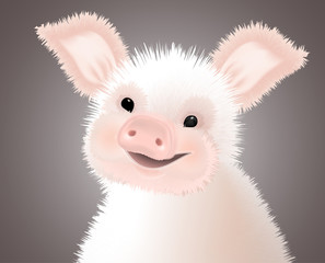 Portrait of small Furry Pink Cute smiling Piggy. Vector illustration