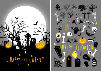 Vector Halloween design set with card and different object illustrations. Will be good for decor a greeting cards, invitations, lettering, business e-mail design, party design and etc.
