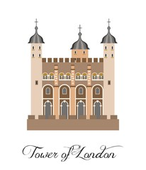 the illustration with the beautiful tower of london