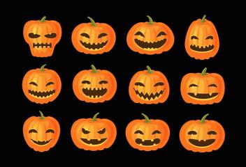 Funny pumpkins, set. Halloween symbol. Cartoon vector illustration