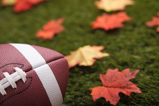 American football on grass next to some autumn fallen maple leaves (focus on the ball)