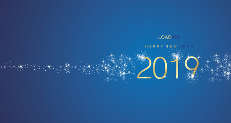 New Year 2017 greetings loading firework gold white blue color vector