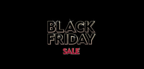 black friday vector banner glowing 3d letters