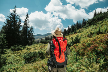 I am ready to go. Back view of brave girl with backpack travelling alone and enjoying the view of green meadow