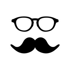 Man glass and mustache image. Vector illustration.