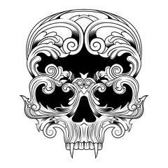 Printed roller blinds Watercolor Skull skull in floral vector illustration
