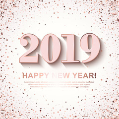 Happy New Year Banner with shining Rose 2019 Numbers on white Background with scattered geometric Confetti. Vector illustration. All isolated and layered