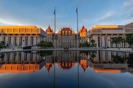 New York State Capitol building at Sunset, Albany, NY, USA