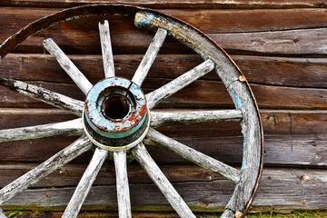 Old Wooden Wagon Wheel Close Up