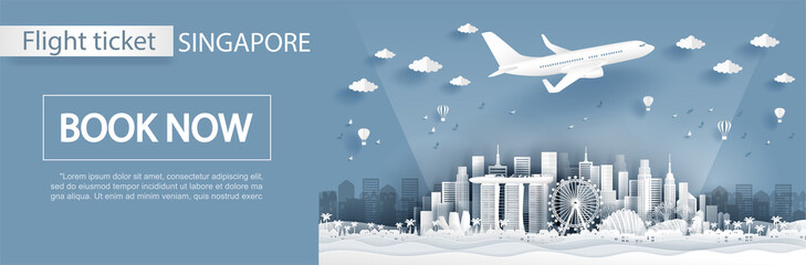 Flight and ticket advertising template with travel to Singapore concept, Singapore famous landmarks in paper cut style vector illustration