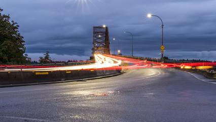 Pattullo Bridge, Surrey to New Westminster. Long exposure of the bridge over the water. Sky Train Bridge..Beautiful British Columbia, Canada.