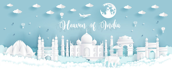 Heaven of India with India famous landmarks in paper cut style vector illustration.