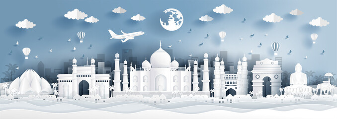 Fototapete - Panorama postcard of world famous landmarks of India in paper cut style vector illustration.