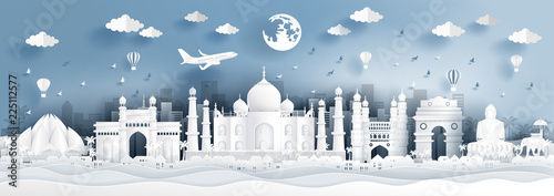 Fototapete Panorama postcard of world famous landmarks of India in paper cut style vector illustration.