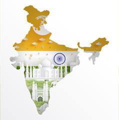 Wall Mural - India map concept with India flag and famous landmarks in paper cut style vector illustration.