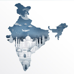 Fototapete - India map concept with India famous landmarks in paper cut style vector illustration.