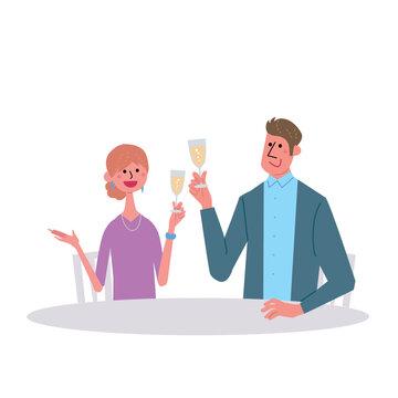 シャンパンで乾杯をする男女 イラスト