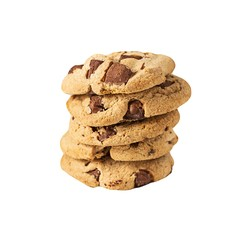 Stack of chocolate cookies isolate on white background