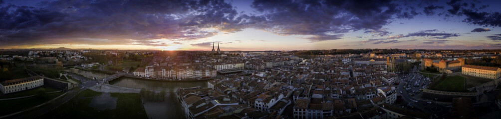 Bayonne France aerial view panorama sunset cityscape with dramatic sky