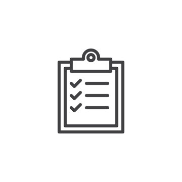 Checklist clipboard outline icon. linear style sign for mobile concept and web design. To do list simple line vector icon. Symbol, logo illustration. Pixel perfect vector graphics