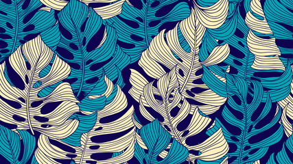 Floral seamless pattern, blue and yellow split-leaf Philodendron plant on dark blue background, line art ink drawing