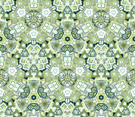Kaleidoscope abstract seamless pattern, background. Composed of geometric shapes in green. Useful as design element for texture and artistic compositions.