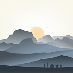 Vector illustration of mountains landscape