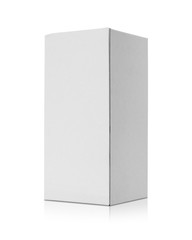 Blank cardboard box isolated on white background. Template of long box for your design. Clipping paths object.
