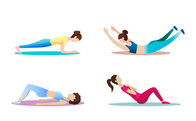 Fitness concept illustration of woman. Fitness and yoga girl icons isolated on white background. Flat design.