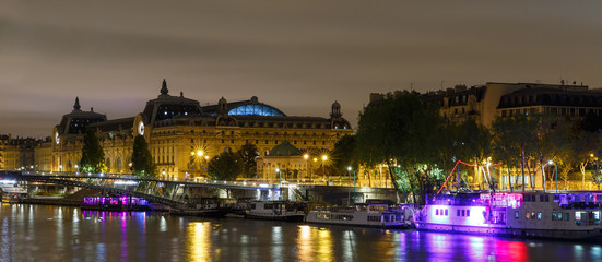 The embankment of Paris at night