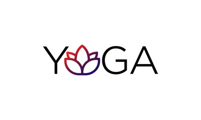 Yoga Typography Logo with Lotus Icon with Gradient Design