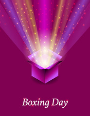 Boxing Day. Concept of the holiday in the UK. 26 December. Gifts. Open gift box from which pulled rays and stars