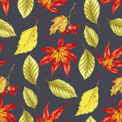 Vector seamless pattern wirh autumn bright leaves