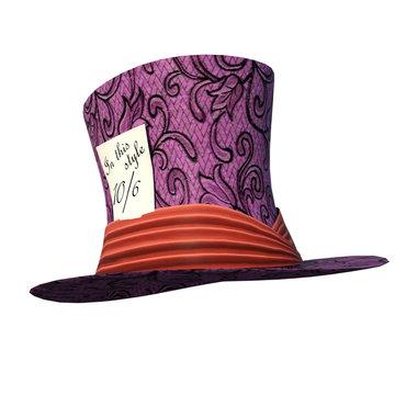 Wonderland hat isolated on white, 3d render.