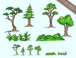 vector all tree,sketch and doodle plant, vector drawing