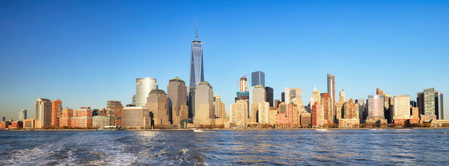 Fond de hotte en verre imprimé New York City New York City at sunset, Lower Manhattan