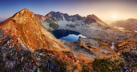 Wall Mural - Mountain landcape panorama at summer with lake in Tatras, Poland
