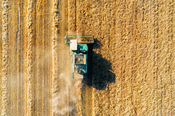 Shooting from above, combine harvester works on a wheat field.