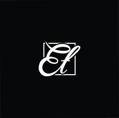 Initial letter ET TE minimalist art monogram shape logo, white color on black background