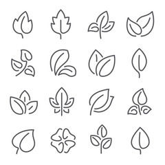 Natural leaf line icons. Young leaves of plants, forest tree leafs and eco greens fertilizer vector outline pictogram symbol set