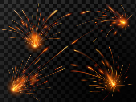 Realistic fire sparks. Spark flow of steel welding or metal cutting work. Electrical explosion sparkles vector set
