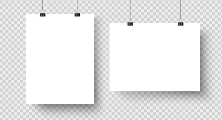White blank posters hanging on binders. A4 paper page, sheet on wall. Vector mockup Wall mural