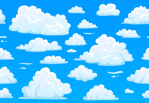 Cartoon blue cloudy sky. Horizontal seamless pattern with white fluffy clouds. 2d game overcast sky vector texture