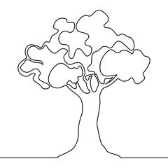 Tree logo continuous one line nature tree vector
