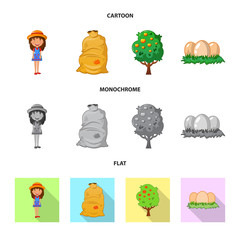 Isolated object of farm and agriculture symbol. Collection of farm and plant vector icon for stock.