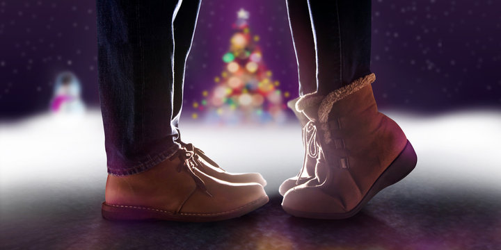 Love Concept, Low Section of Couple Kissing in Winter Romantic Christmas Night. Side View