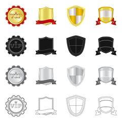 Vector illustration of emblem and badge logo. Collection of emblem and sticker vector icon for stock.