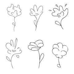 Set of six abstract symbols of flowers, line art, black outline vector sign, collection of icons, logo, isolated nature elements, objects on the white background